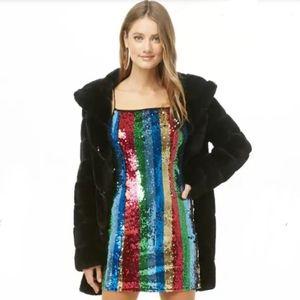 Striped Sequin Mini Cami Dress